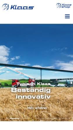 Vorschau der mobilen Webseite klaas.com, Internetpräsenz der Firma Klaas