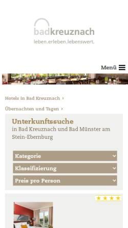 Vorschau der mobilen Webseite www.hotels-in-badkreuznach.de, Hotels in Bad Kreuznach