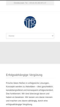 Vorschau der mobilen Webseite tp-berlin.com, TP Theorie&Praxis - Gesellschaft für Forschung und neue Kommunikation mbH