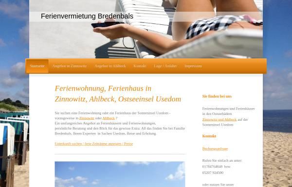 Vorschau von www.fewo-usedom-online.de, Ferienwohnungen Familie Bredenbals