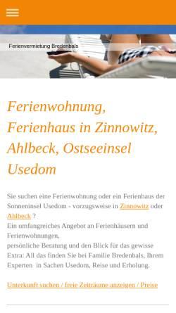 Vorschau der mobilen Webseite www.fewo-usedom-online.de, Ferienwohnungen Familie Bredenbals