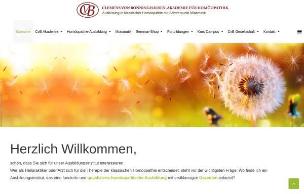 Vorschau von www.cvb-akademie.de, CvB Clemens von Bönninghausen-Akademie für Homöopathik