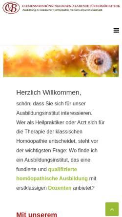Vorschau der mobilen Webseite www.cvb-akademie.de, CvB Clemens von Bönninghausen-Akademie für Homöopathik
