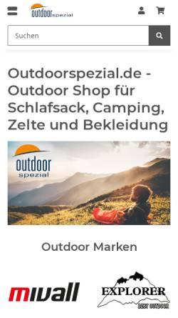Vorschau der mobilen Webseite www.outdoorspezial.de, Outdoorspezial