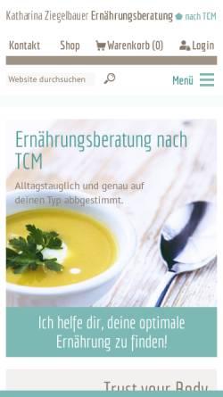 Vorschau der mobilen Webseite www.ernaehrungsberatung-wien.at, Ernährungsberatung nach TCM
