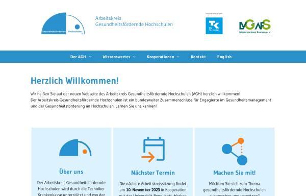 Vorschau von www.gesundheitsfoerdernde-hochschulen.de, Arbeitskreis Gesundheitsfördernde Hochschulen