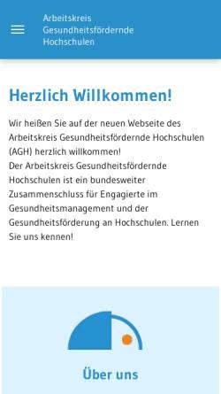 Vorschau der mobilen Webseite www.gesundheitsfoerdernde-hochschulen.de, Arbeitskreis Gesundheitsfördernde Hochschulen