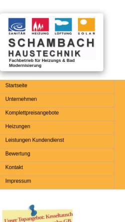 Vorschau der mobilen Webseite www.haustechnik-schambach.de, Haustechnik Schambach e. K.
