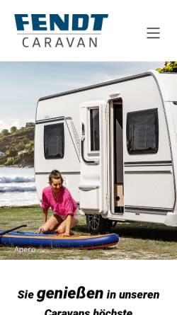 Vorschau der mobilen Webseite www.fendt-caravan.com, Fendt-Caravan GmbH