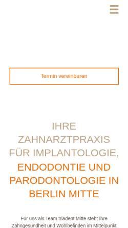 Vorschau der mobilen Webseite www.triadent-mitte.de, Triadent Mitte - Zahnarztpraxis Dr. Jürgen Ranft M.Sc. & Kollegen