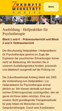 Vorschau der mobilen Webseite www.zukunftswerkstatt-amberg.de, Zukunftswerkstatt Amberg i. d. Oberpfalz