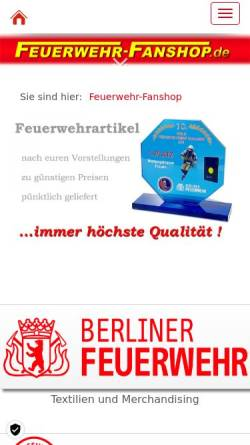 Vorschau der mobilen Webseite www.feuerwehr-fanshop.de, Feuerwehr-Fanshop, Michael Lüdke