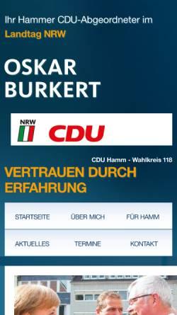 Vorschau der mobilen Webseite www.oskar-burkert.cdu-nrw.de, Burkert, Oskar (MdL)