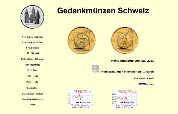 Vorschau von www.gedenkmuenzen.ch, Gedenkmünzen Schweiz, Felix Strickler