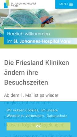 Vorschau der mobilen Webseite www.krankenhaus-varel.de, Krankenhaus Varel St. Johannes-Hospital