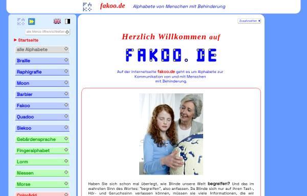 Vorschau von www.fakoo.de, Alphabete behinderter Menschen, informieren und online lernen