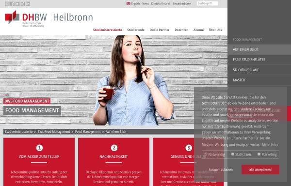 Vorschau von www.heilbronn.dhbw.de, Bachelor Food Management an der Dualen Hochschulen Baden-Wüttemberg Mosbach