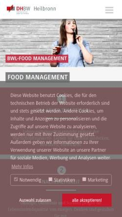 Vorschau der mobilen Webseite www.heilbronn.dhbw.de, Bachelor Food Management an der Dualen Hochschulen Baden-Wüttemberg Mosbach