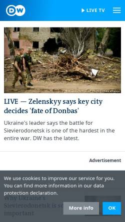 Vorschau der mobilen Webseite dw.com, Deutsche Welle (DW)