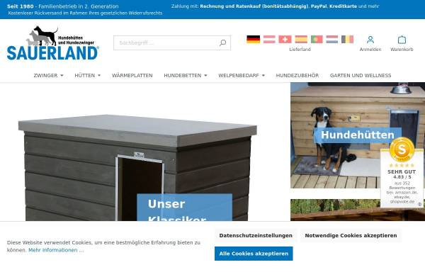Vorschau von www.hunde-huetten.de, Sauerland-Holz Helle GmbH