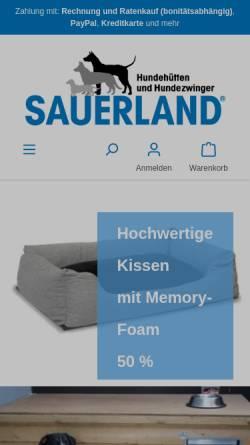 Vorschau der mobilen Webseite www.hunde-huetten.de, Sauerland-Holz Helle GmbH