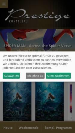 Vorschau der mobilen Webseite www.prestige-filmtheater.de, Prestige Filmtheater