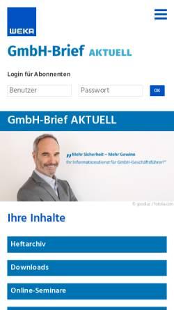 Vorschau der mobilen Webseite www.gmbh-brief.de, GmbH-Brief by GWI, Weka Media GmbH & Co. KG