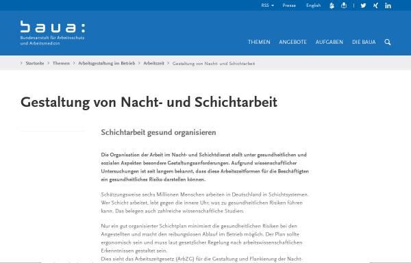 Vorschau von www.baua.de, Bundesanstalt für Arbeitsschutz und Arbeitsmedizin - Gestaltung von Nacht- und Schichtarbeit