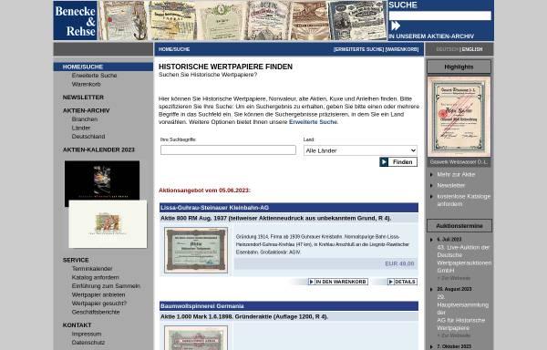 Vorschau von www.aktiensammler.de, Aktien-Gesellschaft für Historische Wertpapiere