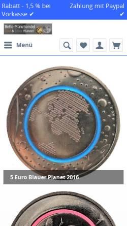 Vorschau der mobilen Webseite www.beko-muenzen.de, BeKo-Münzhandel, Benjamin Kollosche