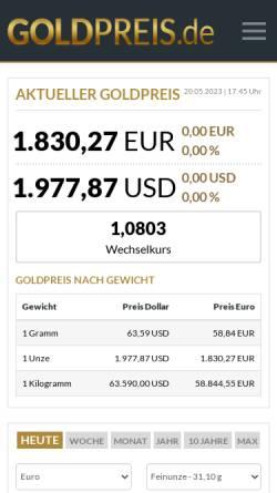 Vorschau der mobilen Webseite www.goldpreis.de, GSP Systems GmbH