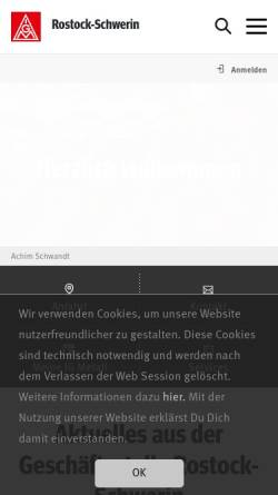 Vorschau der mobilen Webseite www.igmetall-rostock-schwerin.de, IG Metall Rostock Schwerin