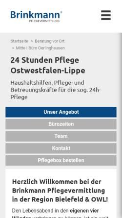 Vorschau der mobilen Webseite www.brinkmann-pflegevermittlung.de, Brinkmann Pflegevermittlung