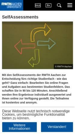 Vorschau der mobilen Webseite www.rwth-aachen.de, Online-Studienberatungstest für Informatik, Elektrotechnik und Technische Informatik