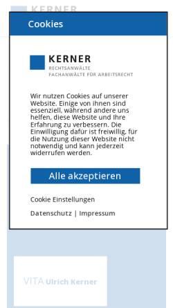 Vorschau der mobilen Webseite kanzlei-kerner.de, Rechtsanwaltskanzei Kerner
