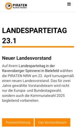 Vorschau der mobilen Webseite www.piratenpartei-nrw.de, Piratenpartei Deutschland, Landesverband NRW
