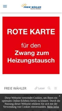 Vorschau der mobilen Webseite nw.freiewaehler.eu, Freie Wähler Landesvereinigung Nordrhein-Westfalen