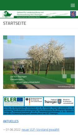 Vorschau der mobilen Webseite www.vlf-thueringen.de, Verband für Landentwicklung und Flurneuordnung (VLF) Thüringen