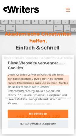 Vorschau der mobilen Webseite gwriters.de, GWriters - Portal für akademische Freelancer (Lektoren, Korrekturen, Autoren, Übersetzer)