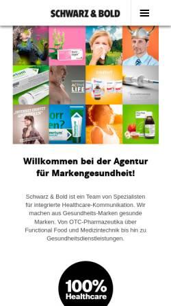 Vorschau der mobilen Webseite www.schwarzundbold.de, Schwarz & Bold Werbeagentur Karlsruhe, Frankfurt am Main