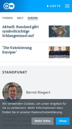 Vorschau der mobilen Webseite www.dw.com, Deutsche Welle - Fokus Osteuropa