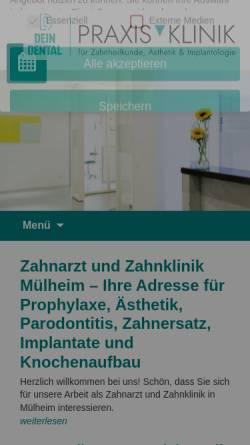 Vorschau der mobilen Webseite praxisklinik-ruhrgebiet.de, Praxisklinik Ruhrgebiet Metz - Heller - Alfers