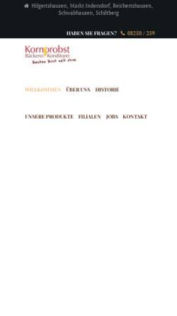 Vorschau der mobilen Webseite www.baeckerei-kornprobst.de, Bäckerei Georg Kornprobst