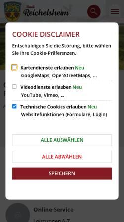 Vorschau der mobilen Webseite www.stadt-reichelsheim.de, Stadt Reichelsheim