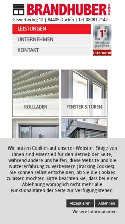 Vorschau der mobilen Webseite www.fenster-rollladen-brandhuber.de, Fenster- und Rollladenbau Brandhuber GmbH