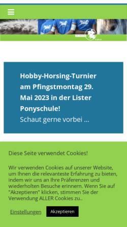 Vorschau der mobilen Webseite www.lister-ponyschule.de, Lister Ponyschule Schillerslage