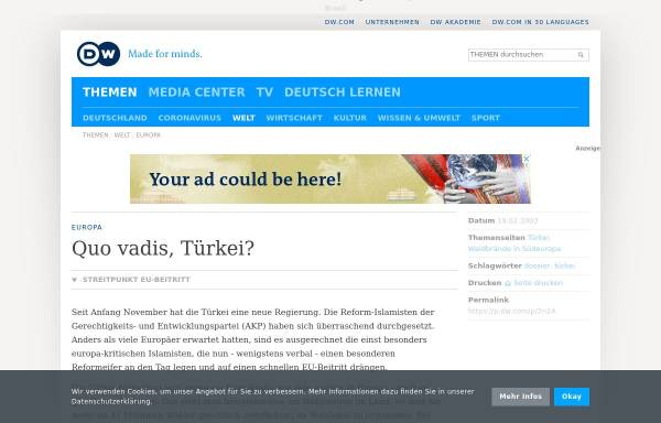 Vorschau von www.dw.com, Deutsche Welle: Türkei - Quo Vadis?