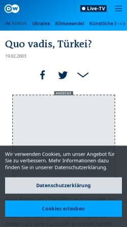 Vorschau der mobilen Webseite www.dw.com, Deutsche Welle: Türkei - Quo Vadis?