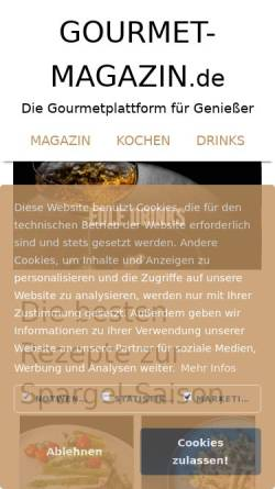 Vorschau der mobilen Webseite www.gourmet-magazin.de, Gourmet Magazin