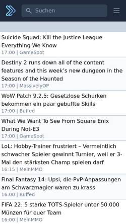 Vorschau der mobilen Webseite www.games-news.de, Games News